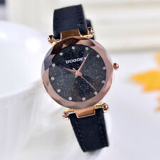 Elegant Fashion Women Starry Sky Quartz Wrist Watch Leather Strap Bracelet Gift
