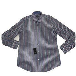 HUGO BOSS Regular Fit  LUCAS Shirt Mens Size Large LS Multicolor Striped