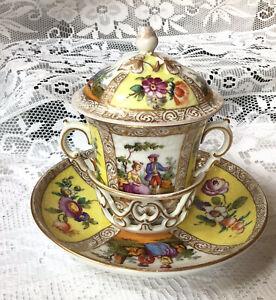 Helena Wolfsohn  Meissen, Trembleuse Cup & Saucer With Lid. Augustus Rex Mark