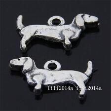 50pc Tibetan Silver 2-Sided Daschund Dog Animal Pendant Charms Beads  G064Y