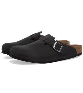 Birkenstock Boston Clog Slip On Shoes Black Slides Vegan Slides Clogs Size 7.5