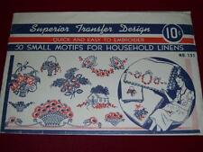 1930s-40s SUPERIOR #121-50 SMALL MOTIFS FOR LINENS EMBROIDERY TRANSFER PATTERNuc