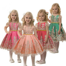 Embroidery Kids Baby Girls Princess Dress Party Wedding Flower Lace Bow Dresses