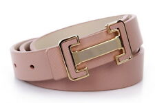 Septwolves women Genuine cow leather belt pin Buckle light apricot 328199000