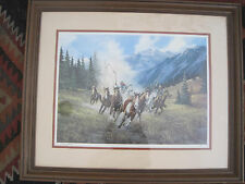 "GERRY METZ SIGNED LMT ED FRAMED PRINT ""DOWN FROM THE HIGH COUNTRY"" HORSE ROUNDUP"