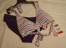 Sofia Size M Purple Swim Panty Coco Rave XS/S 30-32 D Halter Swimsuit Bra NWT