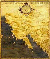 Map Antique Danti Gold Atlas California Old Large Replica Canvas Art Print