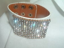 Wrap White Crystal and White Leather Rhinestone Wraparound Bracelet in Gift Box