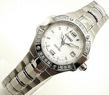 Latest Seiko SXD797 Women Mother of Pearl Dial Stainless Steel Diamond Watch