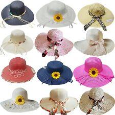 Fashion Summer Women's Ladies Beach Sun Visor Wide Brim Stripe Floppy Straw Hat