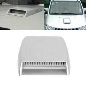 1PC Car SUV Hood Air Flow Intake Vent Front Grille Decorative Cover 3D ABS White