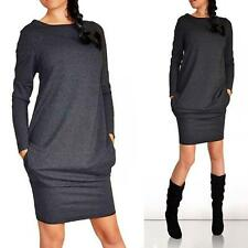 Damen Langarm Bodycon Minikleid Pullikleid Pullover Tunika Kleider Freizeitkleid