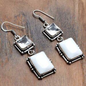 """White Opal White Topaz Handmade Drop Dangle Earrings Jewelry 2.2"""" AE 44510"""
