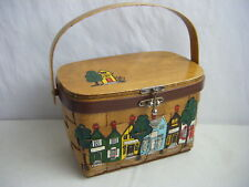 CARO-NAN Vtg 60s Hand-Painted Brown Houses Basket Case Purse w/Quilted Lined