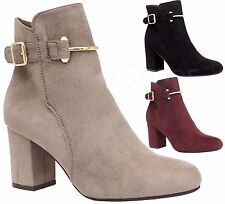 Ladies Womens Mid High Block Heels Buckle Casual Chelsea Ankle Boots Shoes Size