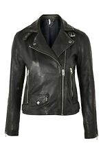 Ladies Topshop Black Leather Jacket Size 4 Current Season