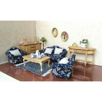 Wooden Dollhouse Bedroom Furniture Set - 1/12 Single Double Sofa Chair and