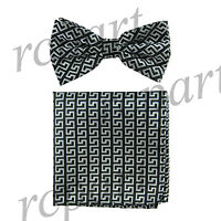 Men's Pre-tied Bow Tie & hankie set patterned black silver wedding party prom