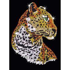 KSG Sequin Art Original Paillettenbild Leopard Tiermotiv 1208
