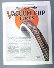 Original 1919 Tire Ad PENNSYLVANIA VACUUM CUP TIRES ...QUALITY  10 by 14