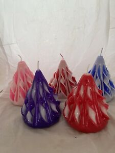Hand Carved sculptured Cone candle