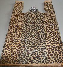 "25 LEOPARD Print Design Plastic T-Shirt Retail Shopping Bags  Handles 11.5x6x21"""