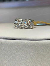 Earrings 1.10 Ct Round Cut VVS1 Diamond Stud Earring 14K White Gold Finish