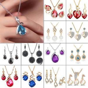 Fashion Crystal Rhinestone Women's Pendant Necklace Earrings Bride Jewelry Set