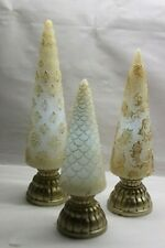 Set of 3 Illuminated Glistening Wax Trees by Valerie IVORY & GOLD RTL$55