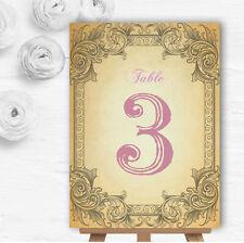 Typography Vintage Pale Pink Postcard Wedding Table Number Name Cards
