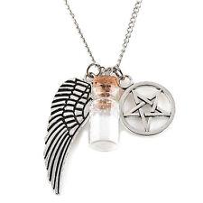 Angel Wing Pentagram Salt Burn Bottle Necklace Pendant Supernatural Magic Gift