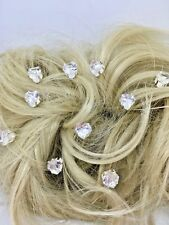 Bridal Wedding Prom Silver Clear Crystal Diamante Heart Hair Pins Clips Grips UK