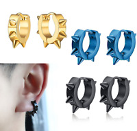 Women Men Stainless Steel Punk Rivet Studs Spike Hoop Huggie Piercing Earrings