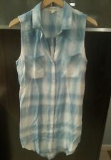NWOT Anthropologie Cloth and Stone Shirt Dress Plaid Chambray Sleeveless Sz M