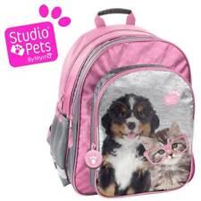 Envío rápido! niños mochila 38x29x20cm perro & gato gris Pink Daypack animales