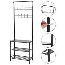 Coat Hat Shoes Hanger 3-Tier Shelves and 9 Hooks Metal Entryway Storage Rack