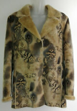 Damen Wildleder Optik Kurz Jacke Fell beige braun Vintage Optik Muster Gr. 40