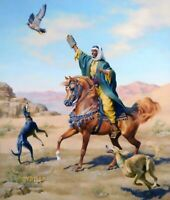 Arab Hunter With His Hawk and Saluki Dogs - Handmade Oil Painting On Canvas