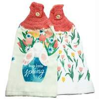 Easter Rabbit Hanging Kitchen Towels Set Crochet Top Spring Tulips