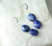 Sodalite Blue Faceted 8 x 10mm Oval Shape Gemstone .925 Sterling Silver Earrings