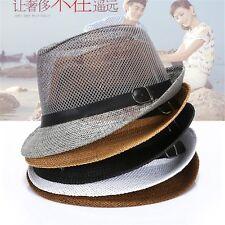 Ladies Mens Summer Beach Fedora Jazz Hat Sun Hat Breathable Mesh Hat Trilby Cap
