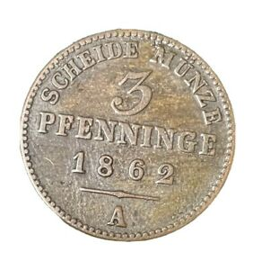 1862 A 3 Pfenninge Coin From Germany, German States, Prussia