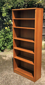 FINE RETRO TALL TEAK  CLEAN DANISH BOOKCASE WITH ADJUSTABLE SHELVES WE DELIVER