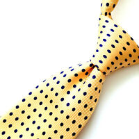 POLO Ralph Lauren Mens Tie Yellow Silk Navy Blue Dots Necktie Handmade Italy 59""