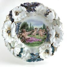Antique Victoria Austria Nude Baby Cherubs Sculpted Floral Serving Bowl H758