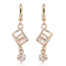 Crystal Square Magic Ball Dangle Earrings Fashion Women's 18K Yellow Gold Filled