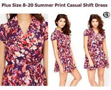 Plus Size Crew Neck Floral Short/Mini Dresses for Women