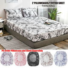 Elastic Fitted Sheet Deep Pocket All Around Microfiber Mattress Cover Pillowcase