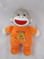 "Baby Starter's Sock Monkey Rattle Plush My First Halloween 8.5"""