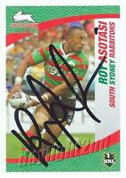 ✺Signed✺ 2008 SOUTH SYDNEY RABBITOHS NRL Card ROY ASOTASI Centenary Telegraph